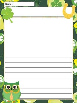 Paper Set : St. Patrick's Day Owls