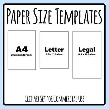 paper sizes templates a4 letter and legal templates clip art set