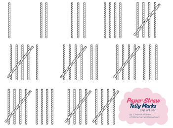 Paper Straw Tally Marks Clip Art Set