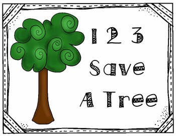 "Paper Towel Dispenser Sign- ""1 2 3 Save a Tree"""