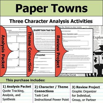 Paper Towns - Character Analysis Packet, Theme Connections, & Project
