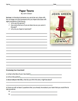 Paper Towns Reading Guide and Chapter Comprehension Questions - John Green