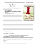 Paper Towns Unit Plan - Reading Guide and Chapter Comprehension Questions