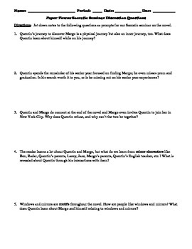 Paper Towns Socratic Seminar Discussion Questions