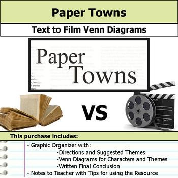 Paper Towns - Text to Film Venn Diagram & Written Conclusion
