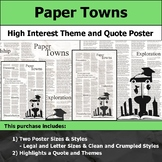 Paper Towns - Visual Theme and Quote Poster for Bulletin Boards