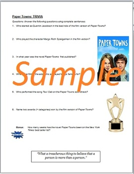Paper Towns by John Green: Pre-Reading Activity Web Quest
