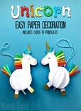 Paper Unicorn Decoration & Unicorn Pop Up Card - Worksheet