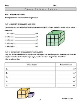 Paper Volume Cubes: Understanding Volume Through Paper Craft