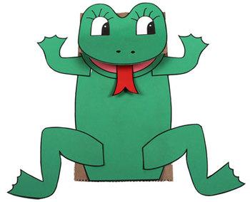 Paper bag puppet: Frog