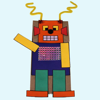Paper bag puppet: Robot