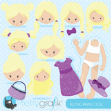Paper doll blonde clipart commercial use, graphics, digital clip art - CL868