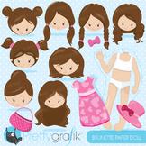Paper doll brunette clipart commercial use, graphics, digital clip art - CL867