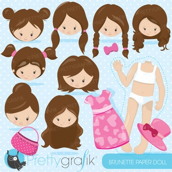 Paper doll brunette clipart commercial use, graphics, digital clip art - CL867