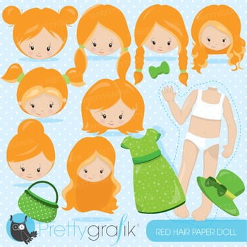 Paper doll red hair clipart commercial use, graphics, digital clip art - CL869
