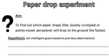 Paper drop Experiment