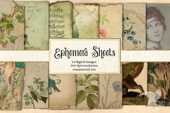 Paper ephemera sheets, digital printable old paper vintage textures