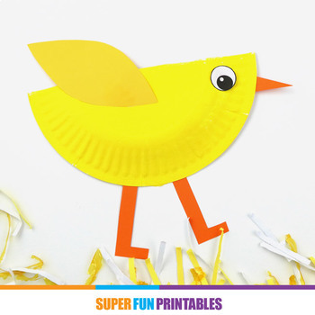 Paper plate chick craft printable