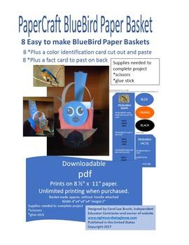 PaperCraft BlueBird Paper Basket