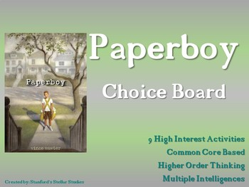 Paperboy Choice Board Novel Study Menu Book Project with Rubric