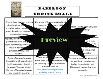Paperboy Choice Board Novel Study Menu Book Project with Rubric Tic Tac Toe