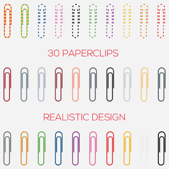 Paperclip Digital Clip Art - Digital File - Paperclips Clipart - Paper Clip