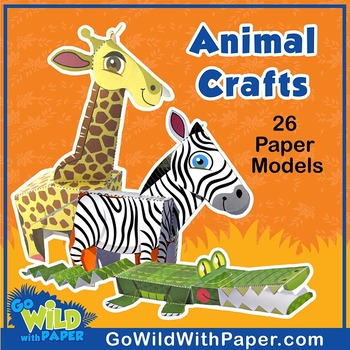 Papercraft animal model bundle 26 zoo animal craft templates tpt papercraft animal model bundle 26 zoo animal craft templates maxwellsz