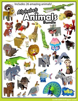 Papercraft Animal Model BUNDLE   26 Zoo Animal Craft Templates