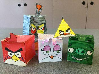 Papercraft Furious Birds for Grades 2-3 (Art)