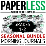 Paperless 1st & 2nd Grade Morning Work   Whiteboard EDITABLE   Distance Learning