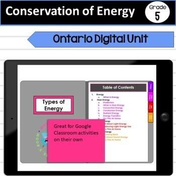 Digital Paperless Conservation of Energy Grade 5 Unit