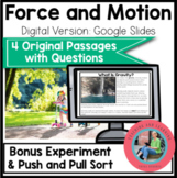Force and Motion   Science Comprehension Passages and Ques