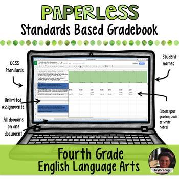 #TPTDIGITAL Paperless Digital Standards Based Gradebook - 4th Grade ELA