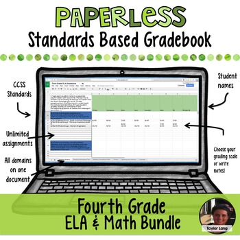 #TPTDIGITAL Paperless Digital Standards Based Gradebook - 4th Grade BUNDLE