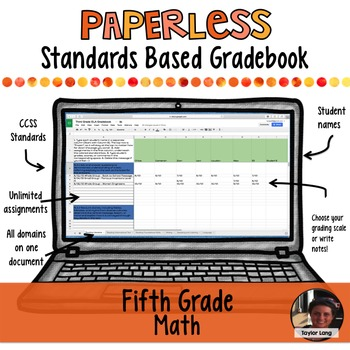 #TPTDIGITAL Paperless Digital Standards Based Gradebook - 5th Grade Math