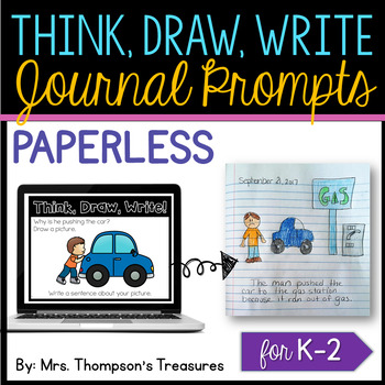 Paperless Journal Writing Prompts {Kindergarten, First, Second}