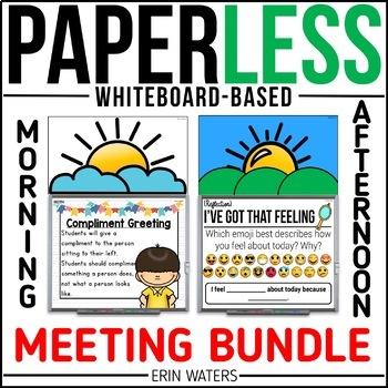 Paperless Morning & Afternoon Meeting BUNDLE {Whiteboard Community-Builders}