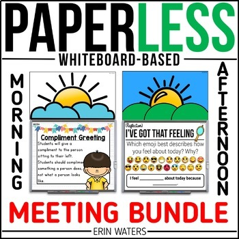 Paperless Morning & Afternoon Meeting BUNDLE {Whiteboard Community-Builders}