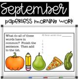 Paperless Morning Work - September