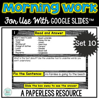 Paperless Morning Work or Literacy Center for use with GOOGLE DRIVE™