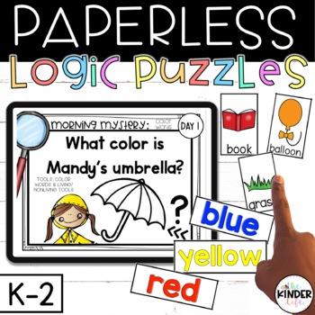 PAPERLESS Mystery Kindergarten 1st Grade Weeks 6-10 Beginning Sounds Numbers