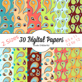 PAISLEY Papers, Coral, Green, Aqua, Brown, Gold