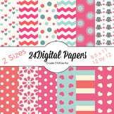 Pretty Pink Digital Papers with Hearts, Stripes, Flowers,