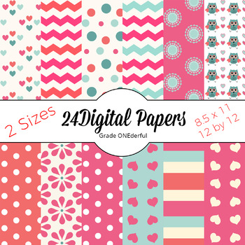 Pretty Pink Digital Papers with Hearts, Stripes, Flowers, Chevrons, Dots