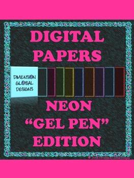 Gel Pen Edition Neon Color Digital Papers