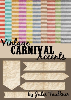 Papers and Tags Accent Pack  {Vintage Stripe Carnival Theme}