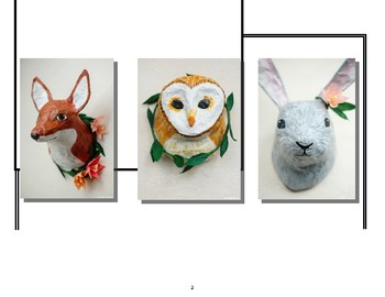 Papier Mache Trophy Animal Heads: 3D Design Honors