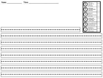 Papier d'écriture avec  grille de correction