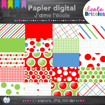 Papier digital- Docudéco J'aime l'école/I love school digital paper