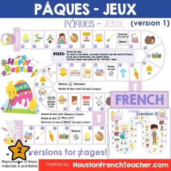 Pâques Board Game: French Easter Activities (Game & Word Mat)